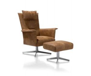 Ensemble fauteuil + pouf cuir marron
