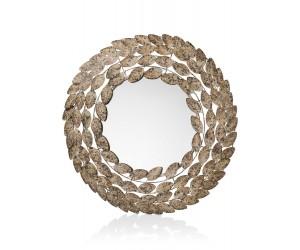 Miroir rond design couronne de feuilles