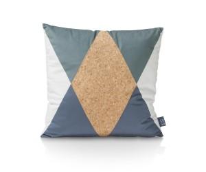 Coussin carré bi-matière bleu vert blanc et marron