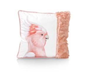 Coussin carré blanc perroquet et poils corail