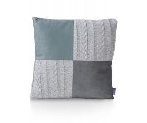 Coussin carré bicolore gris vert et bi-matière