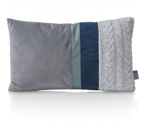Coussin rectangulaire bi-matière bleu vert et gris