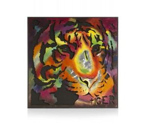 Tableau tête de tigre multicolore