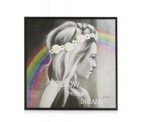 Tableau noir et blanc femme de profil