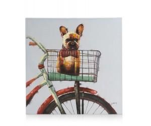 Tableau chien dans panier de velo