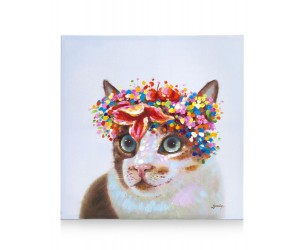 Peinture chat avec couronne de fleurs