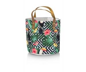 Panier en tissu motifs géométriques et jungle