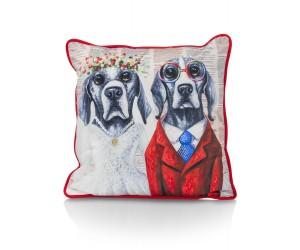 Coussin carré mariage de chiens