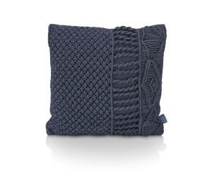 Coussin carré texturé bleu