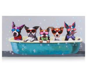 Tableau cinq chien à lunettes dans bain moussant