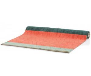 Tapis rectangulaire tricolore vert et saumon
