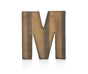 Lettre décorative en forme de M couleur grise et bois