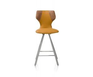 Chaise de bar jaune pieds inox