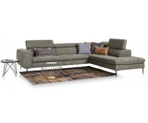 Canapé d'angle contemporain cuir vert sauge
