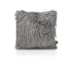 coussin carré gris fourrure