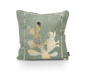Coussin carré beige et vert motif cactus