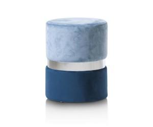 Pouf bleu ciel et bleu foncé ceinture argent