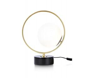 Lampe à poser anneau or socle noir