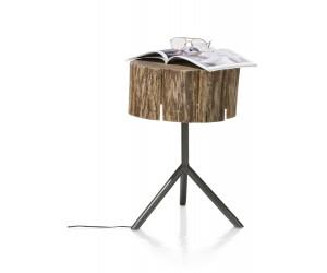 Table d'appoint lumineuse rondin de bois