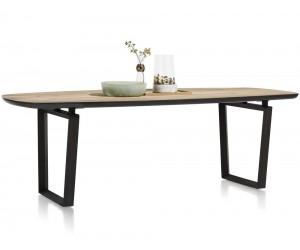 Table de repas en bois avec accents noirs