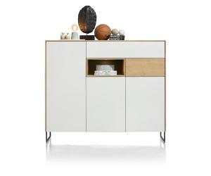 Buffet haut design bois et blanc