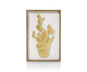 Tableau déco cactus gold et bois