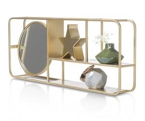 Etagère couleur or avec miroir rond