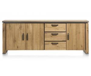 Buffet en bois avec accents métalliques
