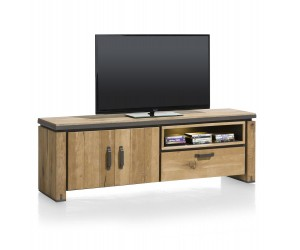 meuble TV en bois avec accents metalliques