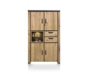 Armoire haute en bois avec accents métalliques noirs