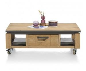 Table basse en bois avec accents métalliques noirs