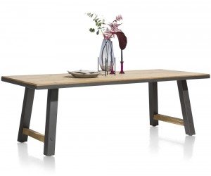 Table de repas fixe plateau bois et pieds noirs