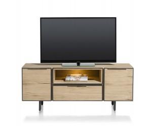 Meube Tv bois détails noirs avec éclairage LED