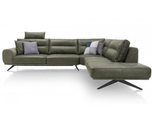 Canapé d'angle vert pieds noirs design