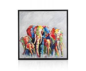 Peinture elephants multicolores