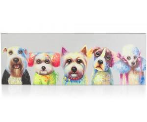 Peinture 5 chiens multicolores