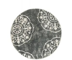 Tapis rond gris bleu motif mandala
