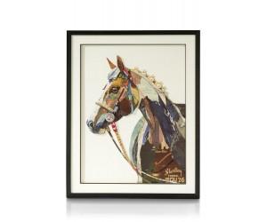 Peinture cheval de course patchwork