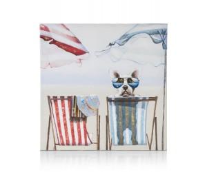 Peinture chien sur transat de plage