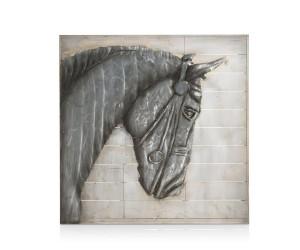 Peinture tête cheval noir de profil