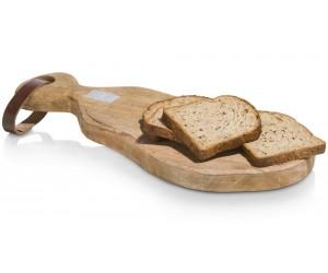 Planche à découper en bois avec poignée cuir