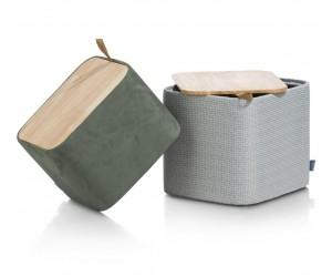 Set de 2 poufs gris et kaki avec rangement