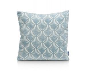 Coussin carré motif bleu et blanc
