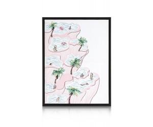 peinture jardins suspendus rose et blanc