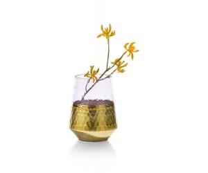 Vase en verre rose et gold