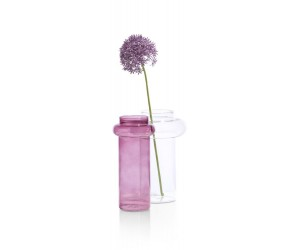 Vase en verre rose et transparent