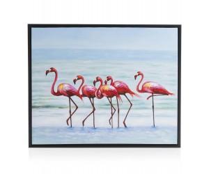 Peinture flamants roses pieds dans l'eau