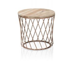 Table d'appoint plateau rond bois structure métallique cuivrée