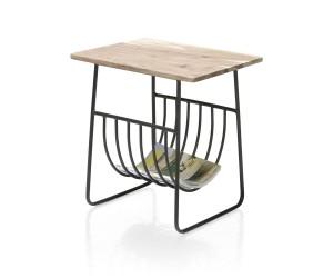 Table d'appoint plateau bois et structure métallique noire