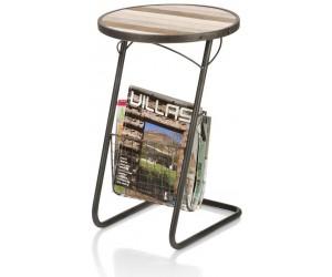 Table d'appoint plateau rond bois structure métallique noire